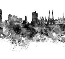 Vienna skyline in black watercolor by paulrommer
