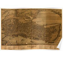 Panoramic Maps Bird's eye view of the city of Portland Maine 1876 Poster