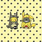 Totoro and Pikachu Onesies by CartoonGirl