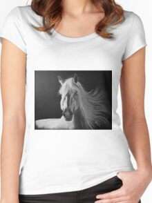 """A White Beauty"" - Lusitano stallion Women's Fitted Scoop T-Shirt"