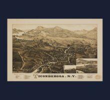 Panoramic Maps Ticonderoga NY Kids Tee