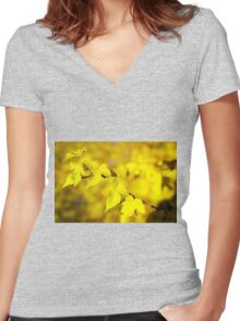 Little branch of maple with small yellow leaves closeup Women's Fitted V-Neck T-Shirt