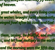 Genesis 1 20-23 And God said, Let the waters bring forth abundantly Sticker