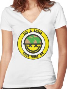 Put a smile on your dial Women's Fitted V-Neck T-Shirt