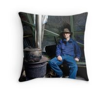 Warming  by the fire Throw Pillow