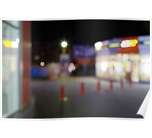 Night urban scene with blurred lights Poster