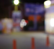 Night urban scene with blurred lights Sticker