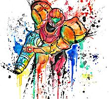 Epic Samus Aran - Watercolor Streetart T shirts + More! by Jonny2may