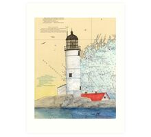 Isle of Shoals Lighthouse NH Chart Map Cathy Peek Art Print
