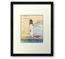 Isle of Shoals Lighthouse NH Chart Map Cathy Peek Framed Print