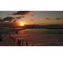Minn beach in snow Photographic Print