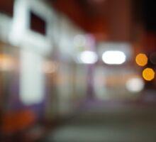 Night urban scene with diffuse lighting shop windows Sticker