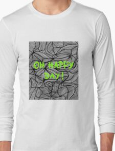 Oh happy day! on swirls green - OneMandalaAday Long Sleeve T-Shirt