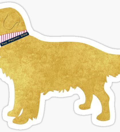 Preppy Golden Retriever Sticker