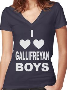 I Love Love Gallifreyan Boys Women's Fitted V-Neck T-Shirt