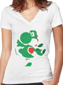 Yoshi - N64 Smash Bros Women's Fitted V-Neck T-Shirt