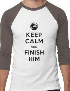 Keep Calm and Finish Him (clean version light colors) Men's Baseball ¾ T-Shirt