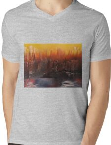 Yellow sky over mountain lake Mens V-Neck T-Shirt