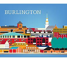 Burlington, Vermont - Skyline Illustration by Loose Petals Photographic Print