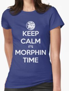 Keep Calm It's Morphin Time (Blue) Womens Fitted T-Shirt