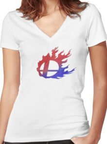Smash Bros Flames Women's Fitted V-Neck T-Shirt