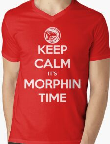Keep Calm It's Morphin Time (Red) Mens V-Neck T-Shirt