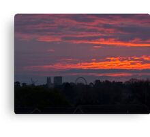 The new York skyline at sunrise, England Canvas Print