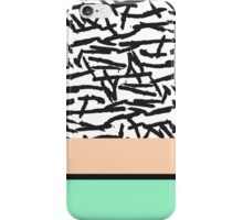 Modern Abstract Mint, Orange, & Brushstrokes iPhone Case/Skin
