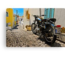 royal enfield in greece Canvas Print