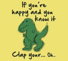 A Happy Dinosaur? Black Text Kids Clothes