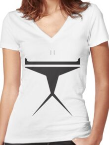 Minimalist Clone Trooper Women's Fitted V-Neck T-Shirt