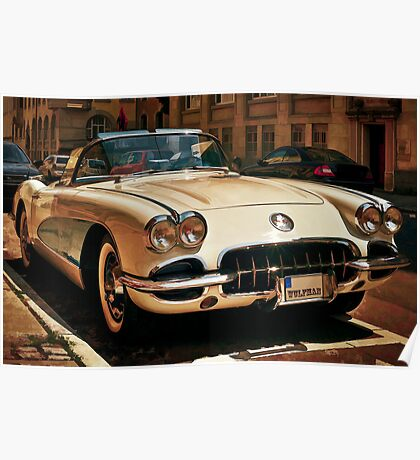 Corvette Chevrolet sketched Poster