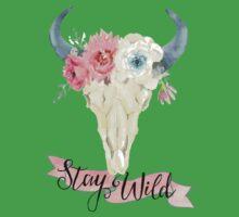 Stay Wild Boho Steer Kids Tee
