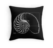 Fibonacci on a nautilus shell Throw Pillow