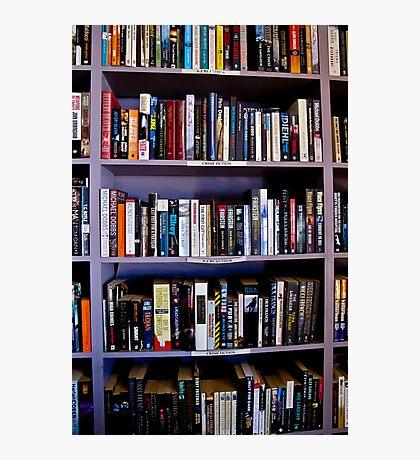 purple book shelves Photographic Print
