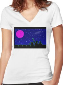 Mystery Science Timey-Wimey Women's Fitted V-Neck T-Shirt