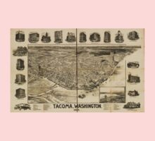 Panoramic Maps Tacoma Washington Kids Tee