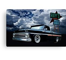65 Chevy C-10 Stopping at Roy's on Route 66 Canvas Print
