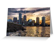 Boston Harbor at Sunset Greeting Card