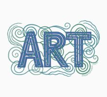 ART In Peacock Colors Hand Drawn Design Kids Tee