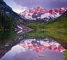 The Maroon Bells Morning Magenta by Paul Gana