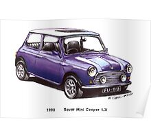 1990 Rover Mini Cooper Car Poster