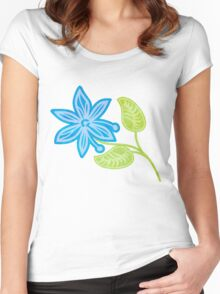 Blue Flower Women's Fitted Scoop T-Shirt