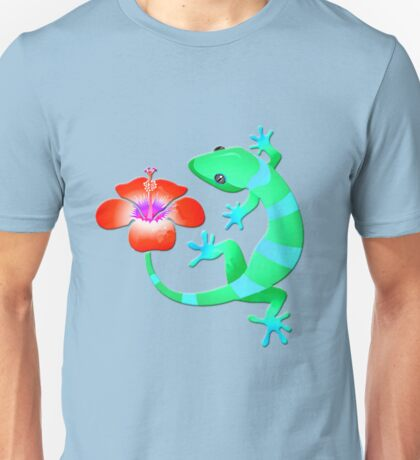 Blue and Green Jungle Lizard with Orange Hibiscus /BACKGROUND Unisex T-Shirt