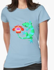 Blue and Green Jungle Lizard with Orange Hibiscus /BACKGROUND Womens Fitted T-Shirt