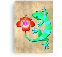 Blue and Green Jungle Lizard with Orange Hibiscus /BACKGROUND Canvas Print