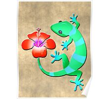Blue and Green Jungle Lizard with Orange Hibiscus /BACKGROUND Poster