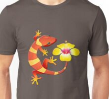 Orange and Yellow Jungle Lizard with Yellow Hibiscus/BACKGROUND Unisex T-Shirt