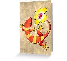 Orange and Yellow Jungle Lizard with Yellow Hibiscus/BACKGROUND Greeting Card