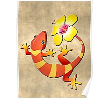 Orange and Yellow Jungle Lizard with Yellow Hibiscus/BACKGROUND Poster